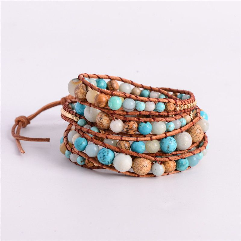 Exquisite Graduated 2018 - 5X Leather Wrap Amazonite Gold Bracelet Bracelet Multi Layered Bracelet For Girl's And Woman's Gift