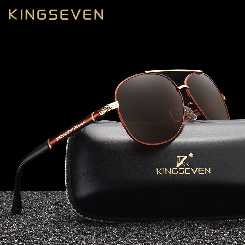 KINGSEVEN New Design Aluminum Magnesium Men's Sunglasses Polarized Coating Mirror Sun Glasses oculos Male Eyewear <font><b>Driving</b></font> Oculos