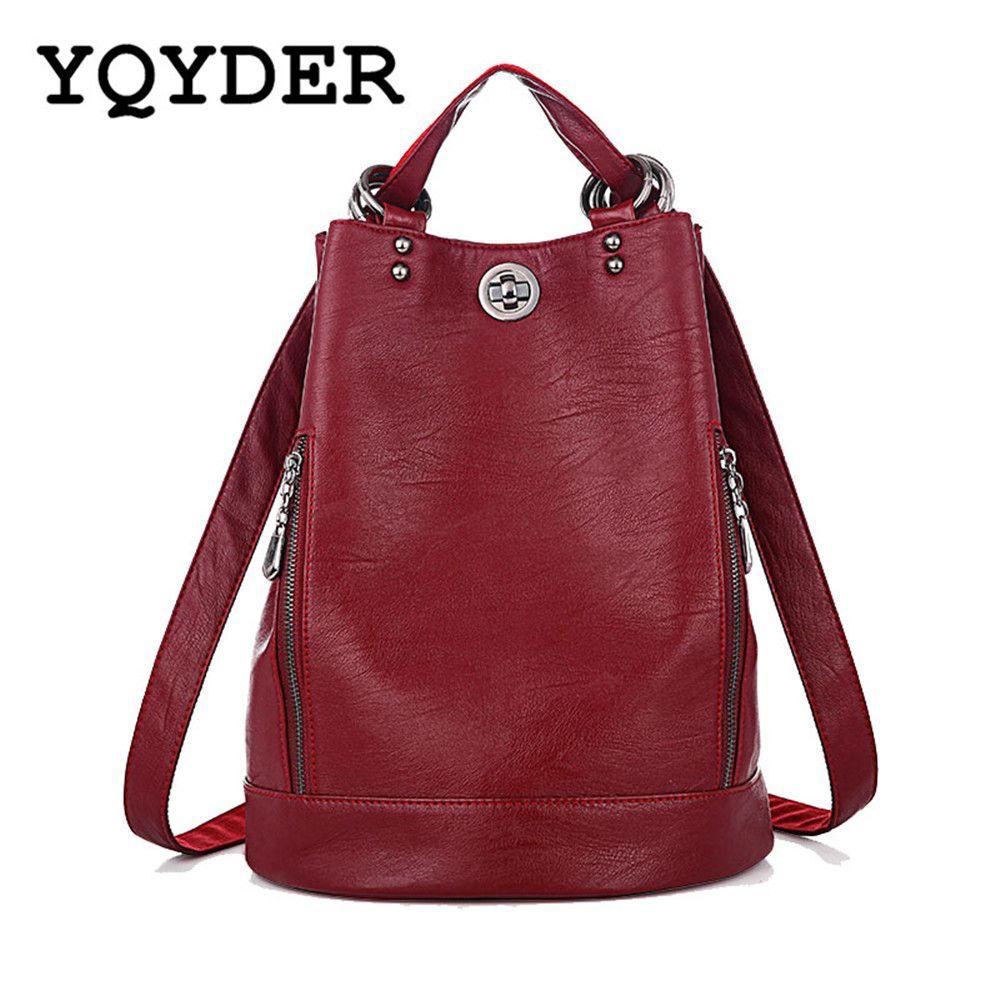 Мода новый многофункциональный Для женщин рюкзак искусственная кожа черный рюкзак большой емкости Дорожная сумка женский рюкзак сумка ...