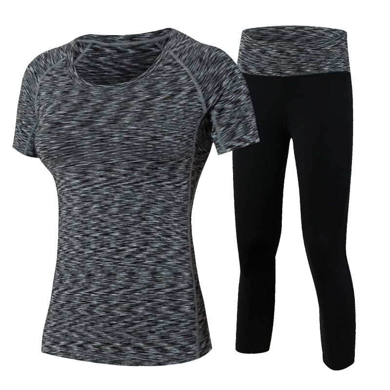 YD 2Pcs Yoga Suits New Fitness Women Wick Workout Sport Gym Clothes Running Pants Compression Tights T shirt Tracksuits Yoga Set