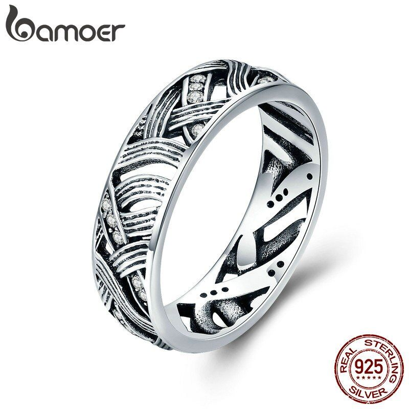 BAMOER Authentic 925 Sterling Silver Vintage Stackable Retro Wave Finger Rings for Women Sterling Silver Jewelry Anel SCR253