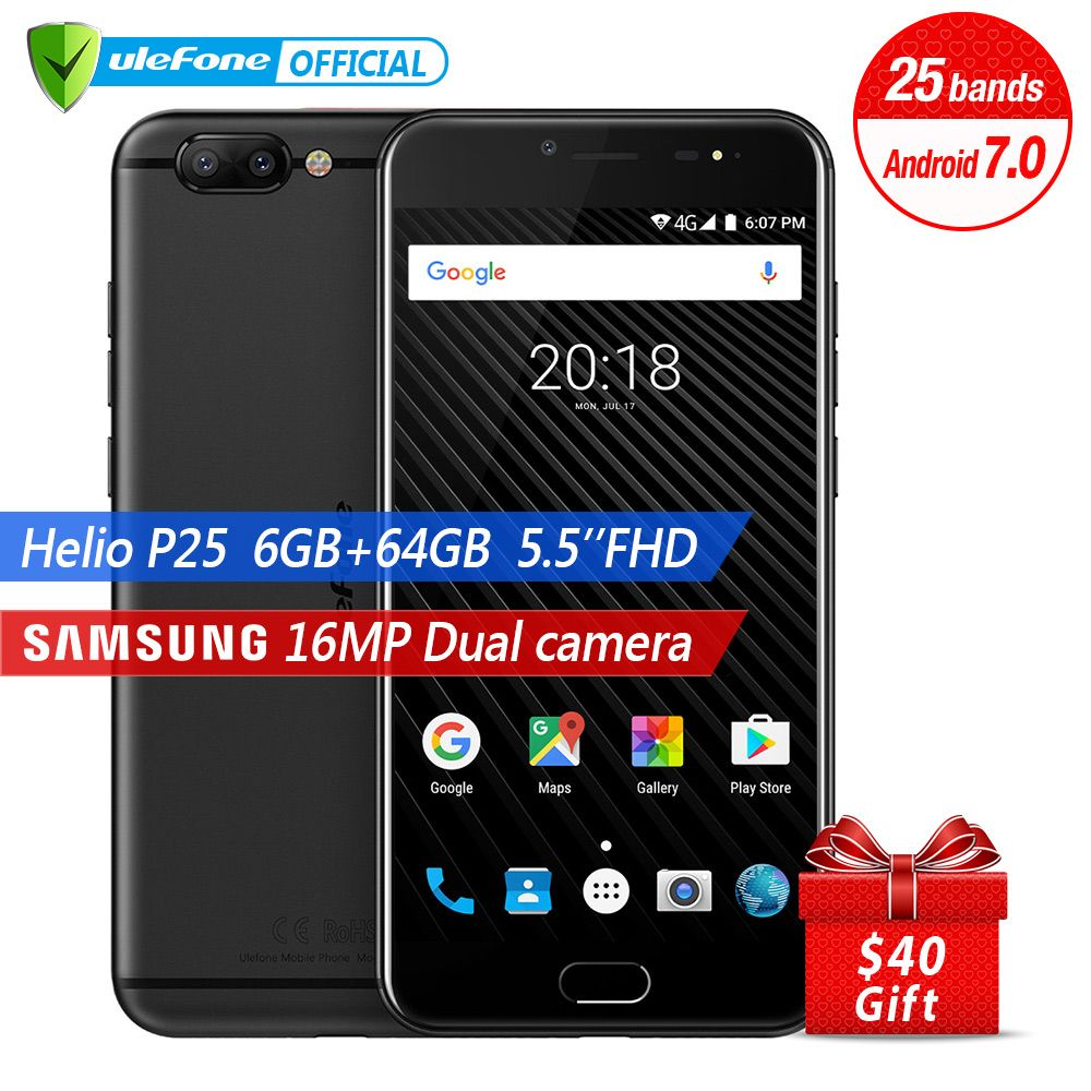 Ulefone T1 Dual Rear Camera Mobile Phone 5.5 inch FHD Helio P25 Octa Core Android 7.0 6GB 64GB 16MP Cam Fingerprint 4G Cellphone