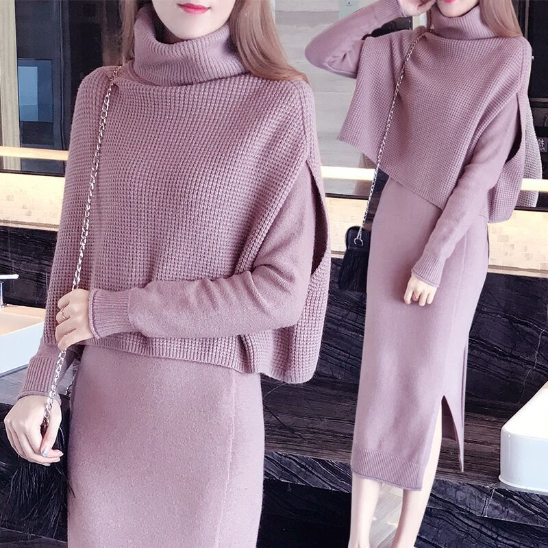New Autumn Winter Fashion Women TurtleneckBottoming sweater Tops Line dress Knit 2 Piece Set Ladies Casual Knitted Suit