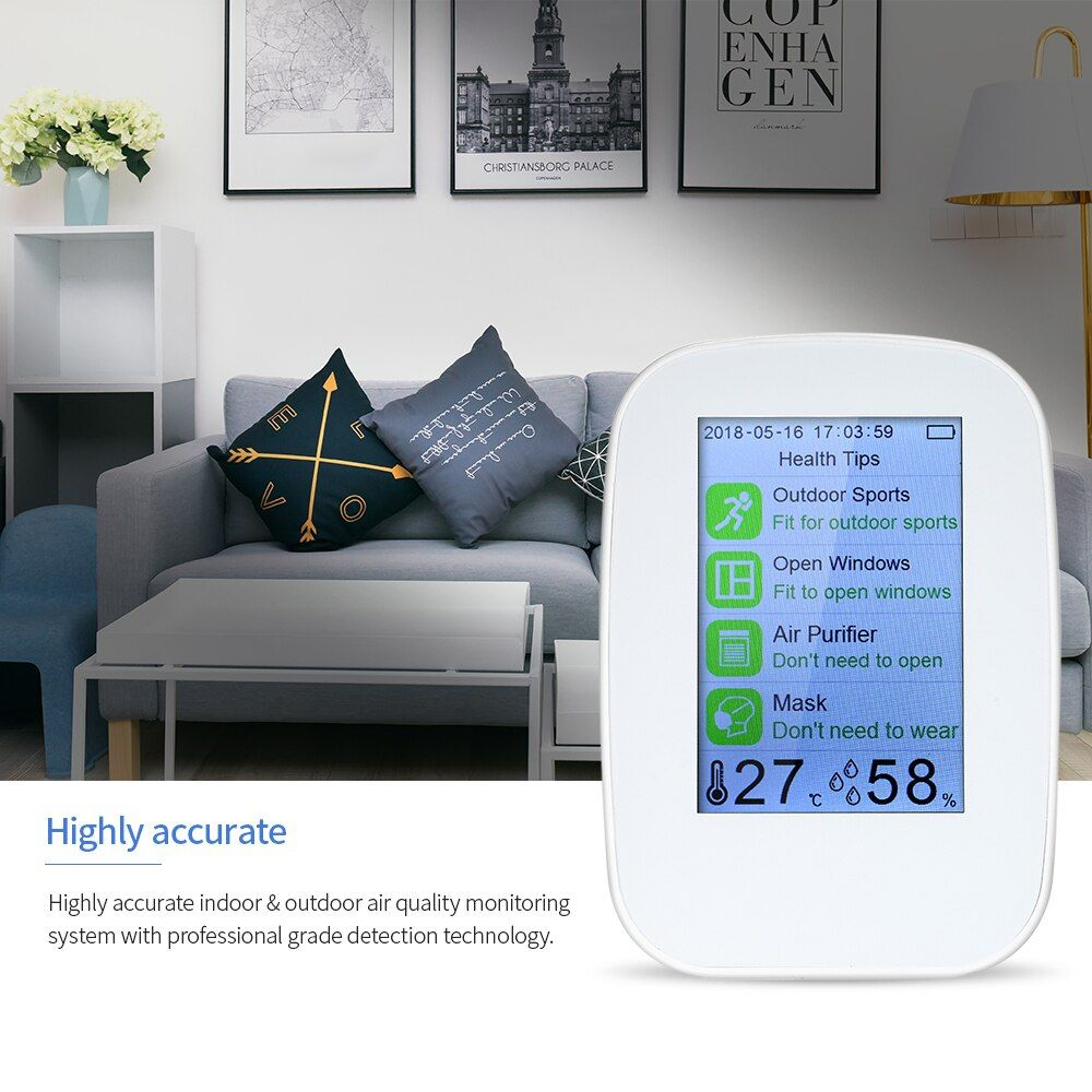 Digital Indoor/Outdoor PM2.5/HCHO/TVOC Tester CO2 Meter air quality monitor Detector Gas Analyzer Thermometer Hygrometer