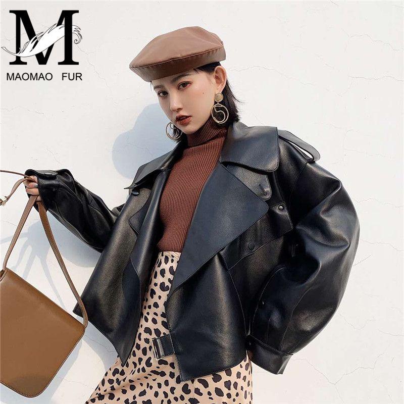 2019 neue Fashion Echtes Leder Jacke Frauen Taschen Poly Biker Schaffell Leder Mantel Herbst Frühling Damen Echt Leder Jacke