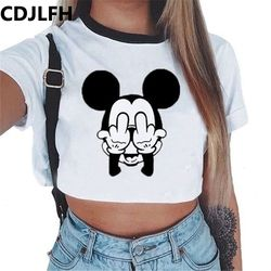 CDJLFH 2018 Summer Harajuku Crop Top T Shirt Clothes Sexy Tops For Women Clubwear Cute Croptop For Girls Top Femme