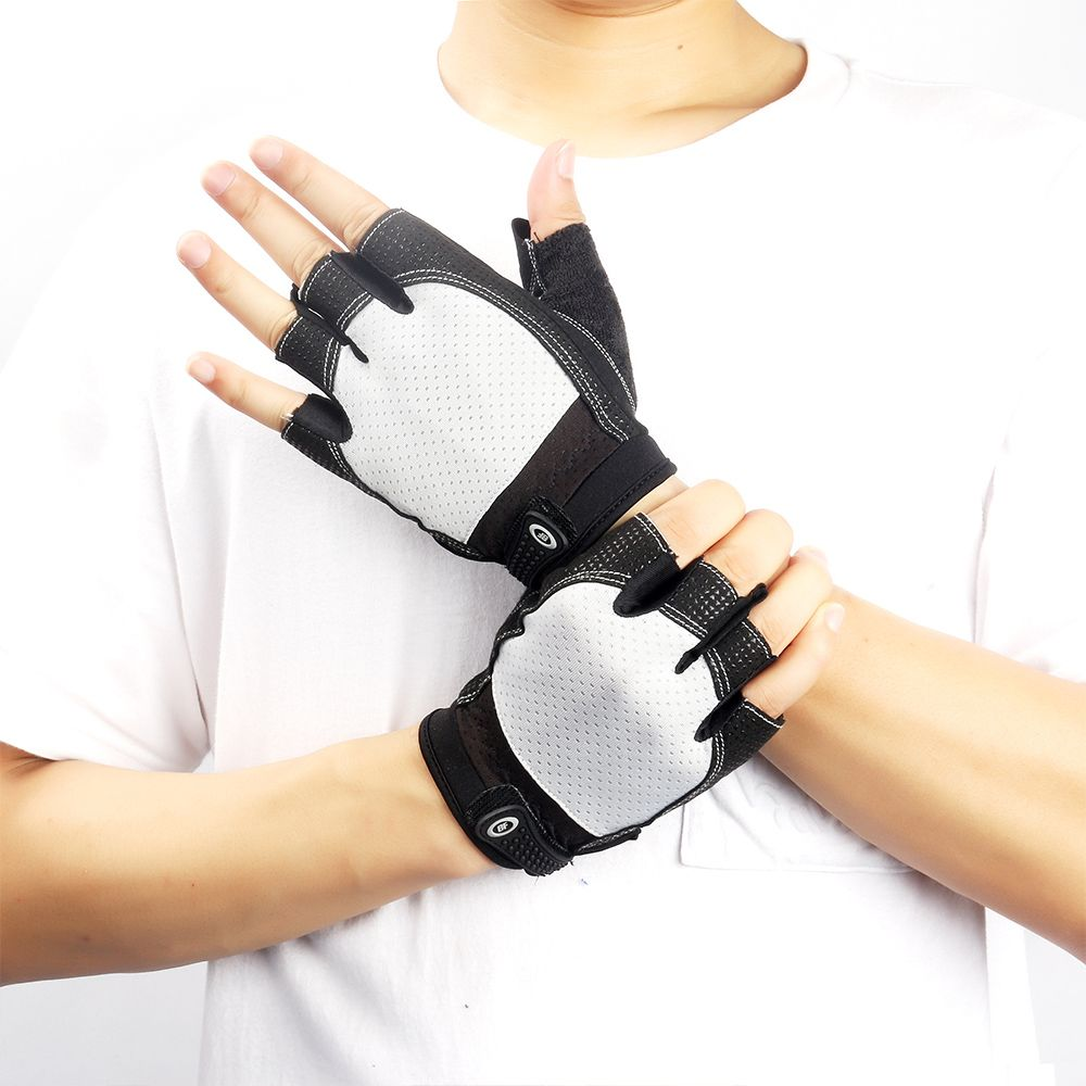Women Men Training Sports Glove Bodybuilding Dumbbells Weight Lifting Half Finger Gloves Silicone Gel Anti-Slip Gloves for Gym