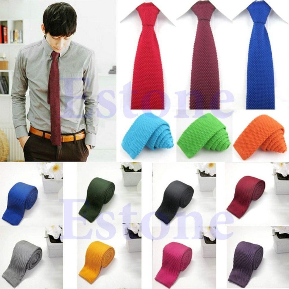 U119 Herrenmode Feste Krawatte Knit Gestrickte Krawatte Reine Farbe Krawatte Schmale Schlank Gewebt