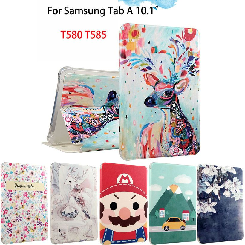 Fashion PU Leather Flip Case For Samsung Galaxy Tab A A6 10.1 2016 T580 T585 SM-T580 Smart Case Cover Funda Tablet Sleep/Wake up
