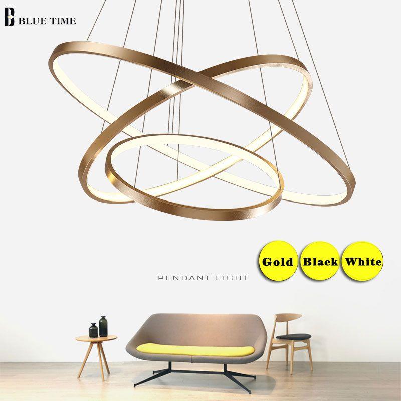 Gold Silber Weiß Schwarz Moderne kronleuchter Licht Für Wohnzimmer Esszimmer 4/3/2/1 Kreis ringe LED Decke Lampe Leuchten