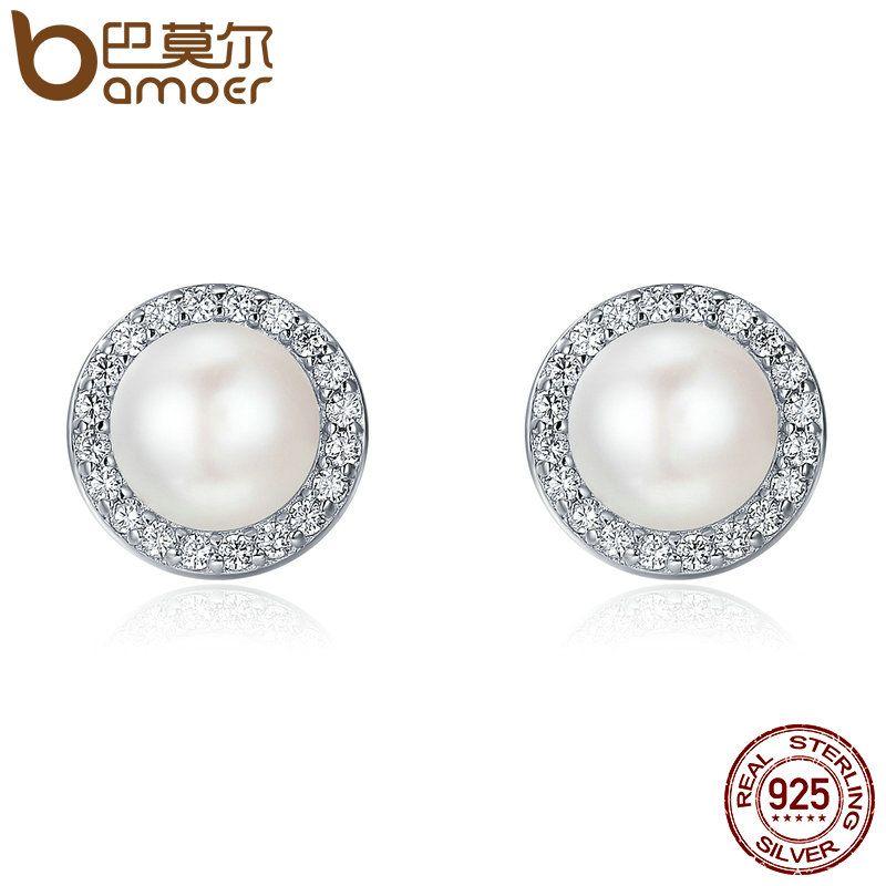 BAMOER 925 Sterling Silber Klassische Runde Funkelnden CZ Frische Wasser Perle Stud Ohrringe für Frauen Sterling Silber Schmuck SCE122