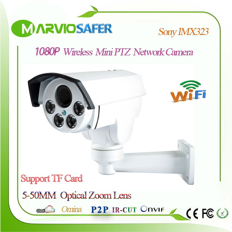 1080P Full HD Bullet Outdoor 10X 5X Optical Zoom IP PTZ Wifi Network Camera 2MP Wireless Wi fi CCTV Camera TF Card Slot, Onvif