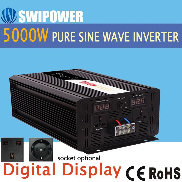5000 watt reine sinus solar power inverter DC 12 v 24 v 48 v zu AC 110 v 220 v digital display