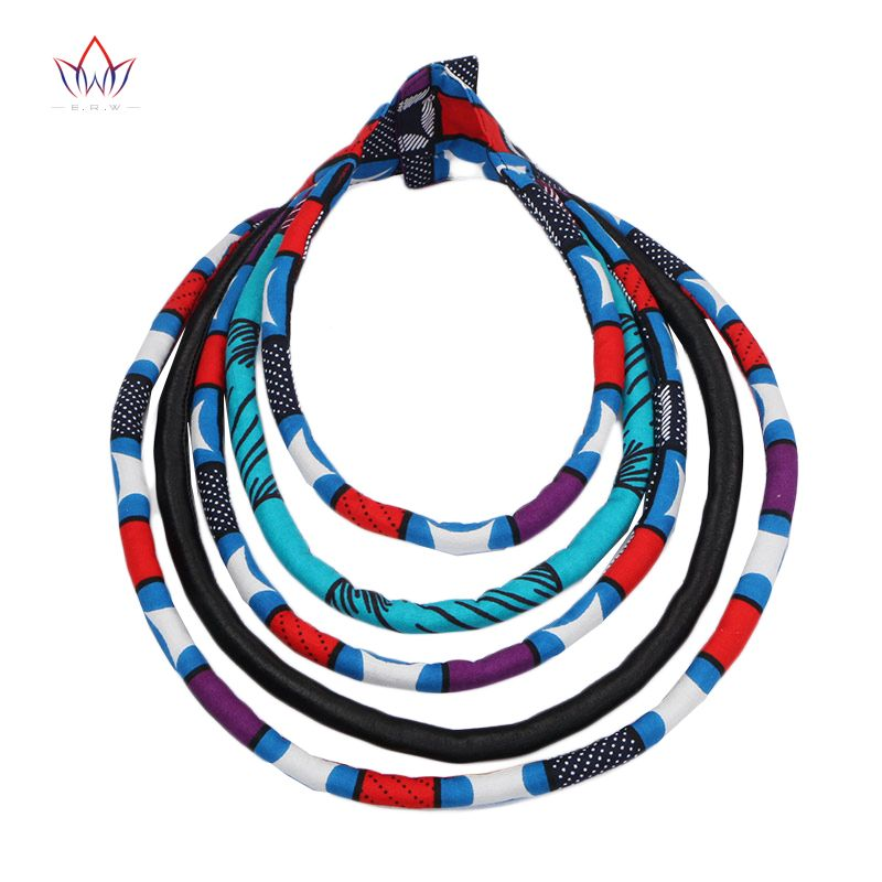 BRW 2017 Fabric Print Necklace African Tribal Ankara Handmade Jewelry Necklace Multilayer Bib Necklaces African Necklaces WYB168