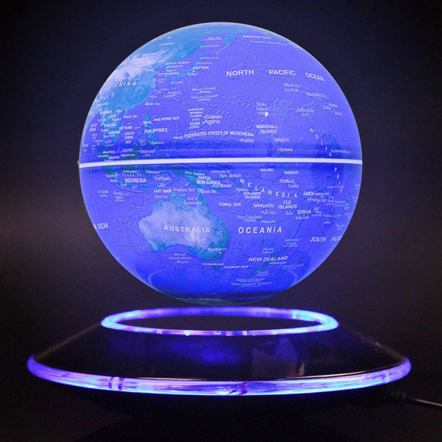 6 Inch Creative Electronic Magnetic Levitation Floating Luminous Globe World Map for kids boss friend Christmas Birthday gifts