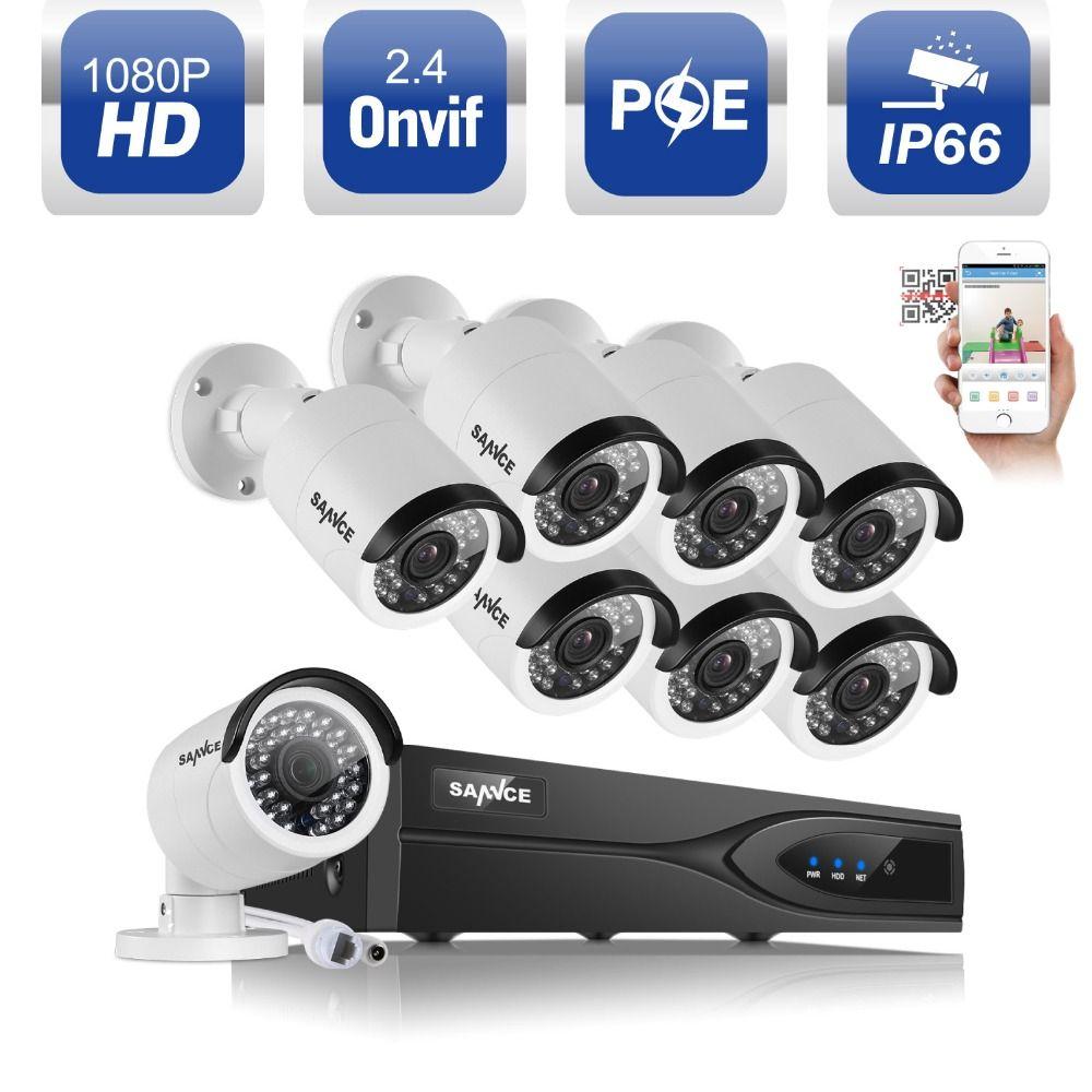 SANNCE 8CH 1080 P POE NVR Kit 2.0MP CCTV System Sicherheit 3000TVL POE Ip-kamera Onvif P2P Wasserdicht Outdoor Home-überwachung Kit