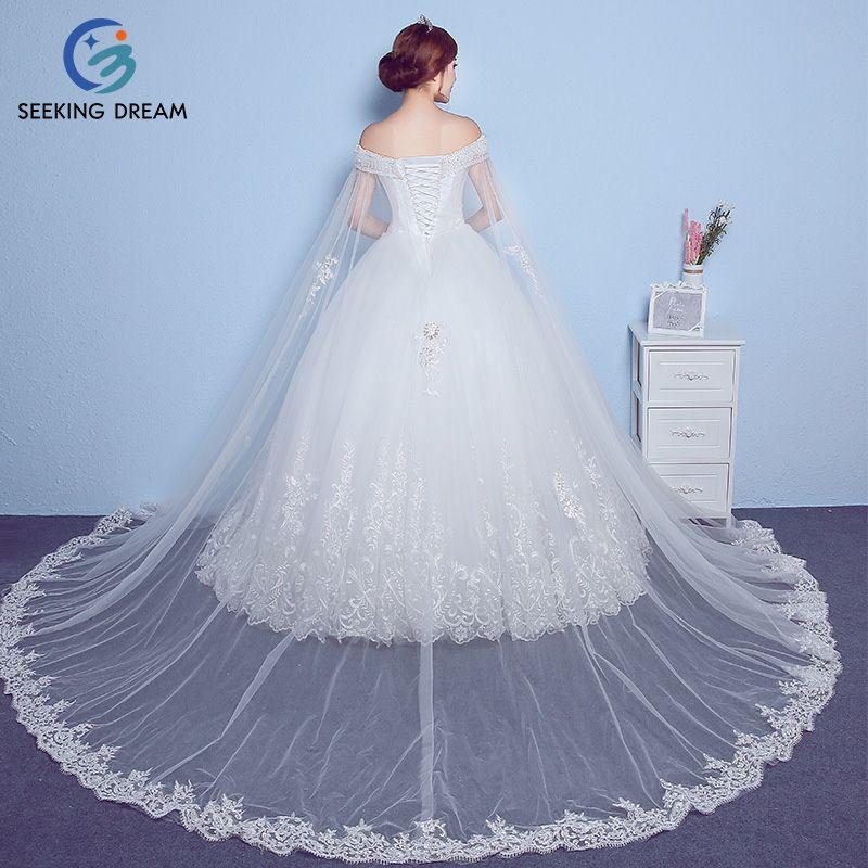 2017 Girl Ivory White Cheap Strapless Ball Gown Dress Sexy Shawl Wedding Dress Train Lace Bride Princess robe mariage Plus Size