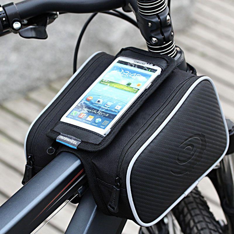ROSWHEEL Wasserdicht 1.8L Radfahren Fahrrad Frontrahmen Bag Pannier doppelrohrtasche für 5in oder 5.5in Handy 12813