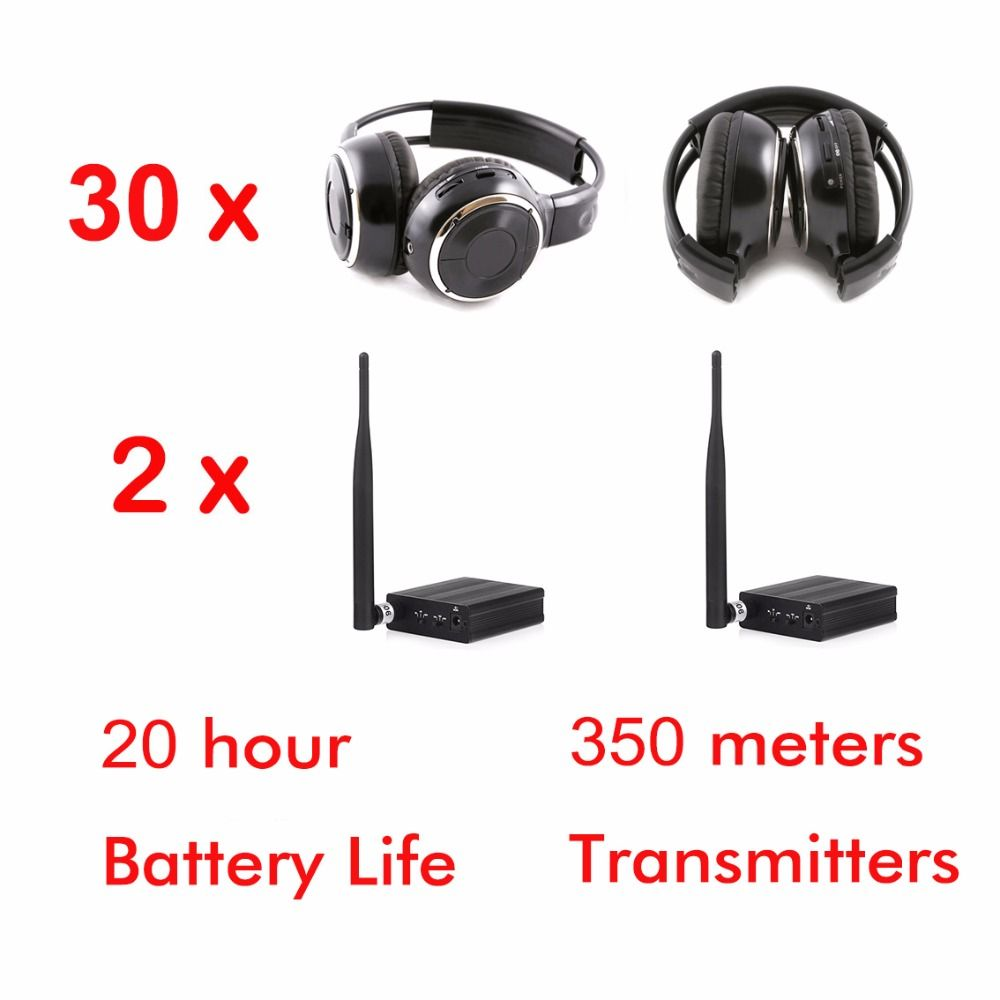 500m 3 channel wireless silent disco headphones - 30pcs foldable headphones + 2 pcs Transmitters