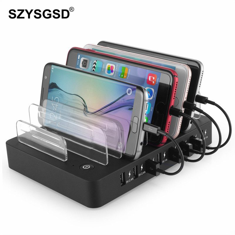 SZYSGSD 8 Ports Desktop Charging Station Family Office 2.4A Multi Quick USB Charger Dock Station With Stand Power Adapter