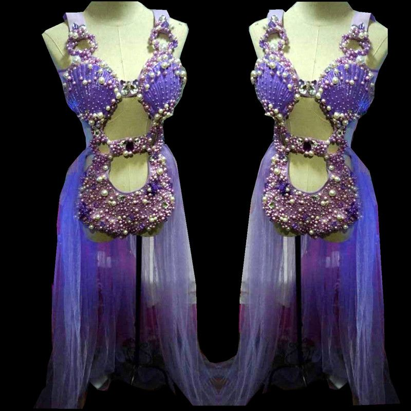Purple Shell Pearl Crystals Bodysuit singer Sparkling sexy female costumes Fashion slim performance Bar DJ show nightclub prom