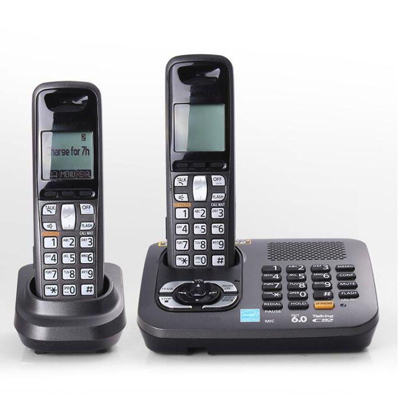 Deux Combiné 1.9 GHz Dect 6.0 Téléphone Sans Fil Numérique Rétro-Éclairage Maison Sans Fil Téléphone Fixe Téléphone Avec Alarme Réponse Système