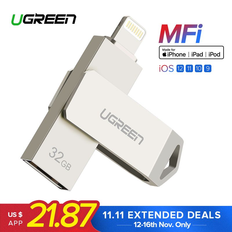 Ugreen USB Flash Drive USB Pendrive for iPhone Xs Max X 8 7 6 iPad 16/32/64/128 GB Memory Stick USB Key MFi Lightning Pen drive