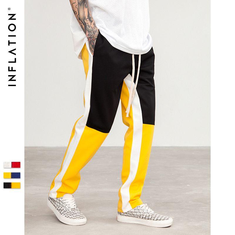 INFLATION 2018 New Cotton Hip hop Style Full Length Pant Hip Hop Sweatpants For Men Elastic Waist Mens Spiced SweatPants 8404S