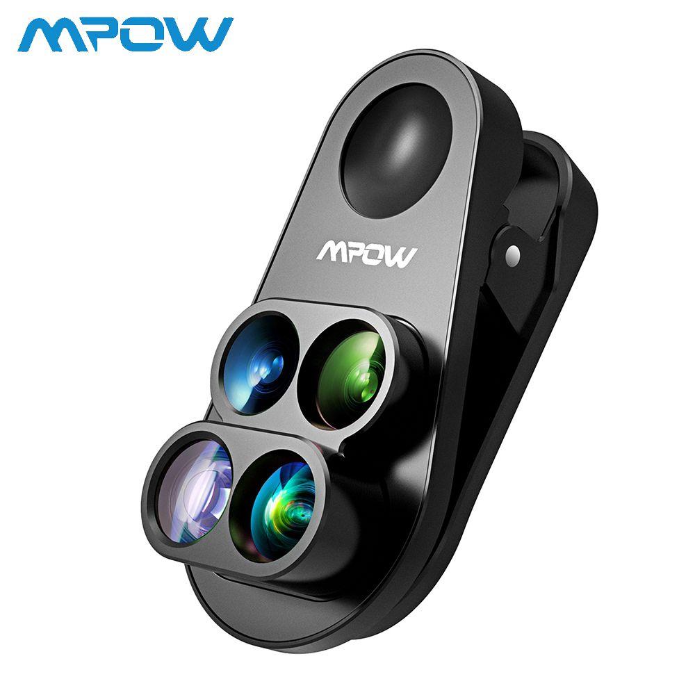 Mpow 4 en 1 caméra à clipser Kit double objectif 0.65X grand Angle Fish Eye 10X Macro objectif 1.5X téléobjectif pour iPhone 8 7 6 6 s/plus
