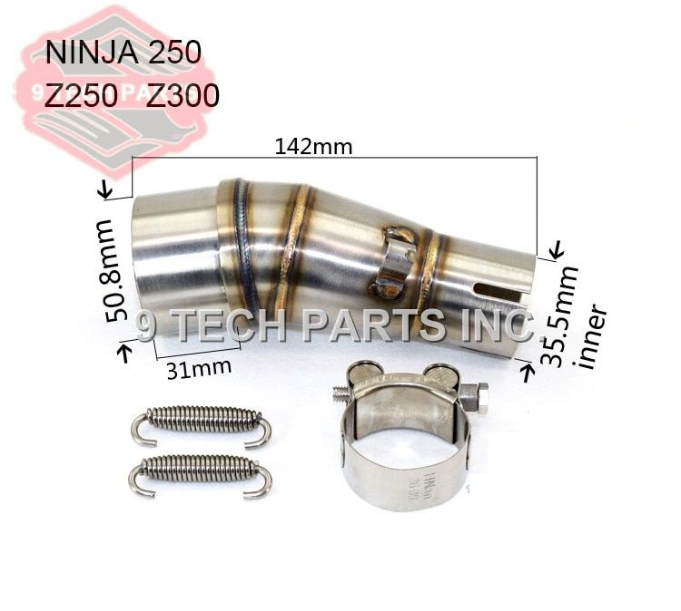Motorcycle Exhaust middle pipe stainless steel Muffler link pipe middle section adapter for kawasaki Ninja 250 250R Z250 Z300