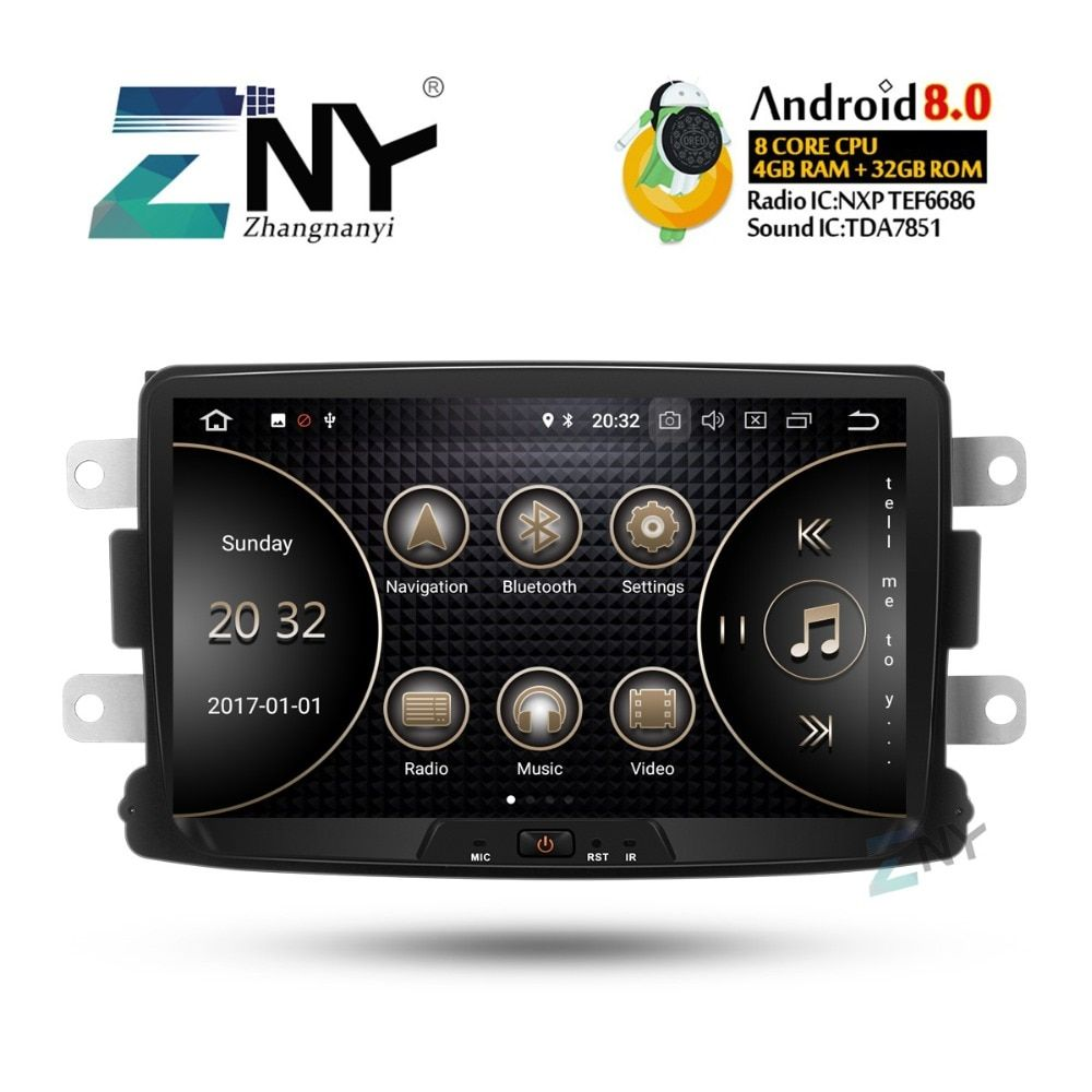 8 IPS Android 8.0 Auto Stereo GPS Für Renault Duster Dacia Sandero Logan Captur + Optional DSP/Carplay/ DAB +/64 GB ROM/Papagei BT