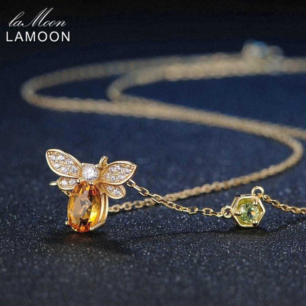LAMOON 925 pendentif en argent Sterling collier bijoux fins abeille 1ct 100% naturel Citrine mode jaune longue chaîne ambre colliers