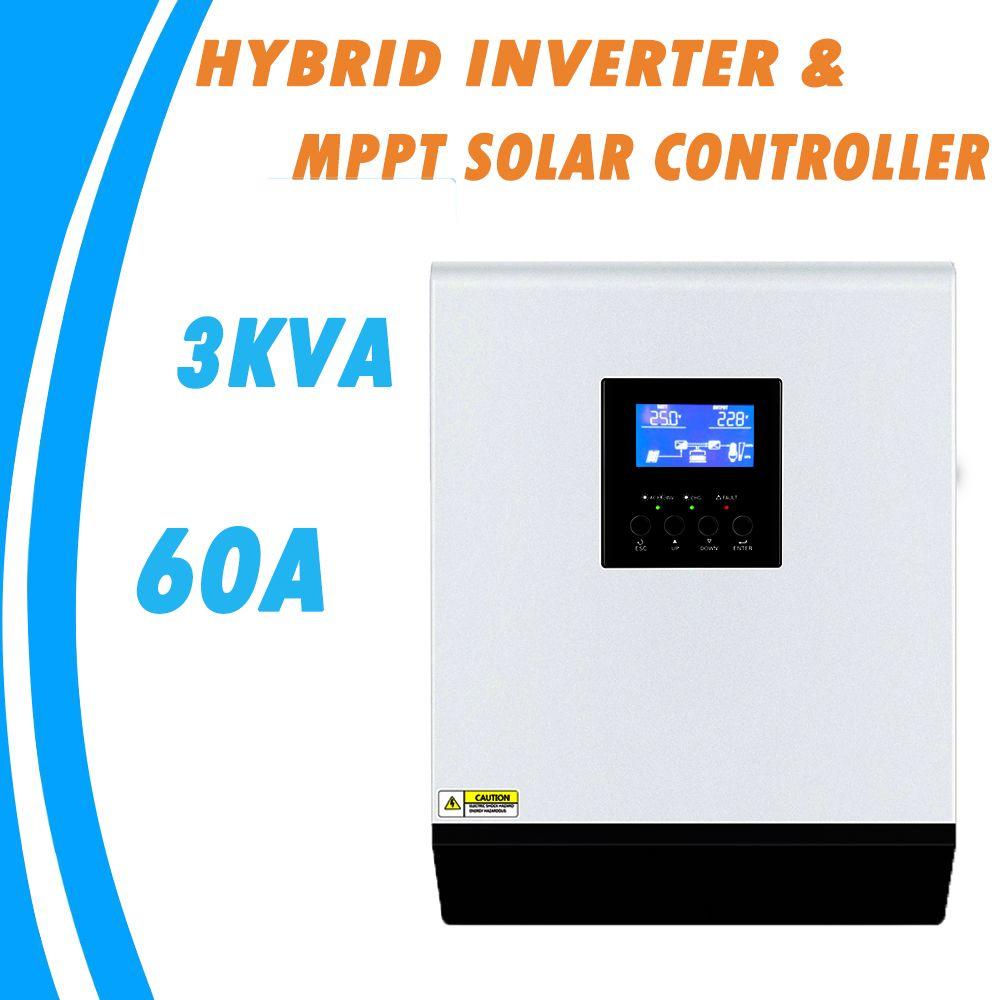 3KVA Reine Sinus Welle Hybrid Inverter 24V 220V Eingebaute 60A MPPT PV Laderegler und AC Ladegerät für heimgebrauch MPS-3K-60A