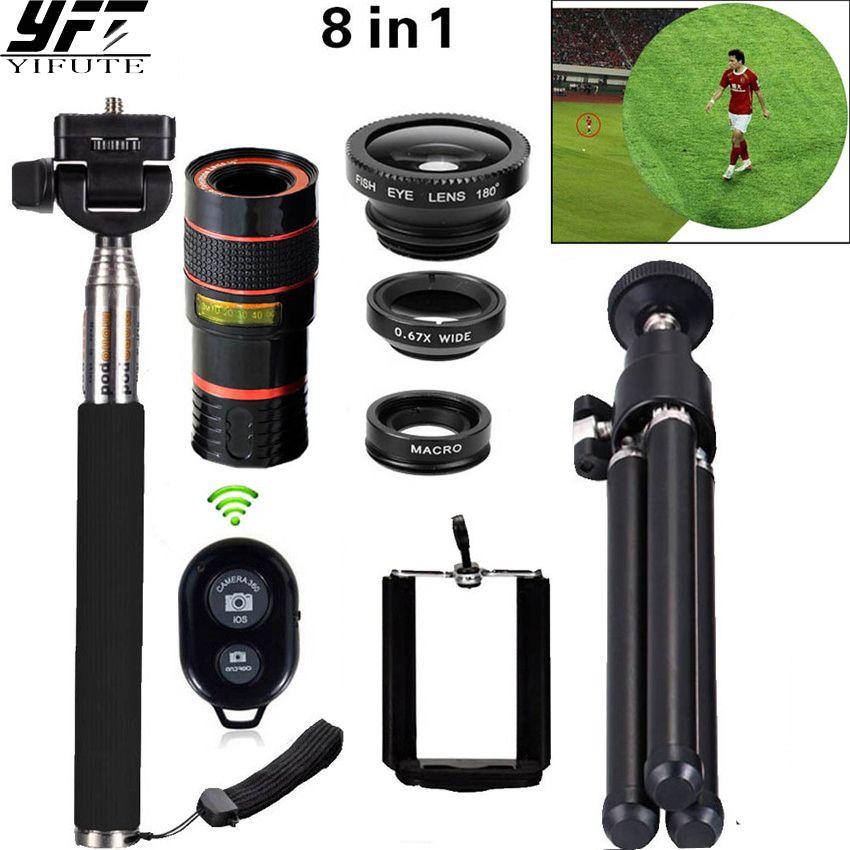 8in1 12X Zoom Téléobjectif Télescope de Téléphone 3in1 Clip sur lentille Kit Bluetooth Grand Angle Fish Eye Macro Pour iPhone Samsung