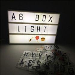 A6 tamaño cine lightbox hogar DIY lámpara de noche LED alimentación por batería o cable uSB con letras para Decoración para el hogar lighing + A6 tarjeta
