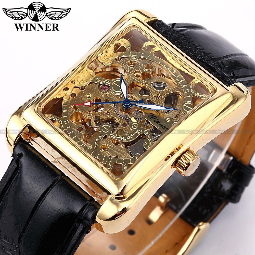 Winner Skeleton Gold Watch Retro Designer Rectangle Black Leather Men Casual Watch Men Luxury Brand Automatic Mechanical Watch