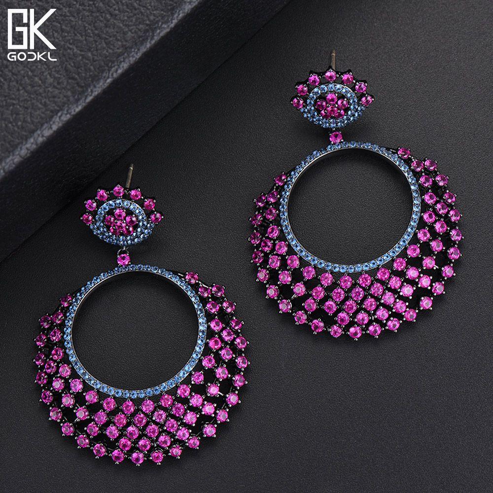 GODKI Luxury Gypsophila Long Dangle Earrings For Women Wedding Cubic Zircon Crystal CZ Dubai Bridal Earrings Fashion Jewelry