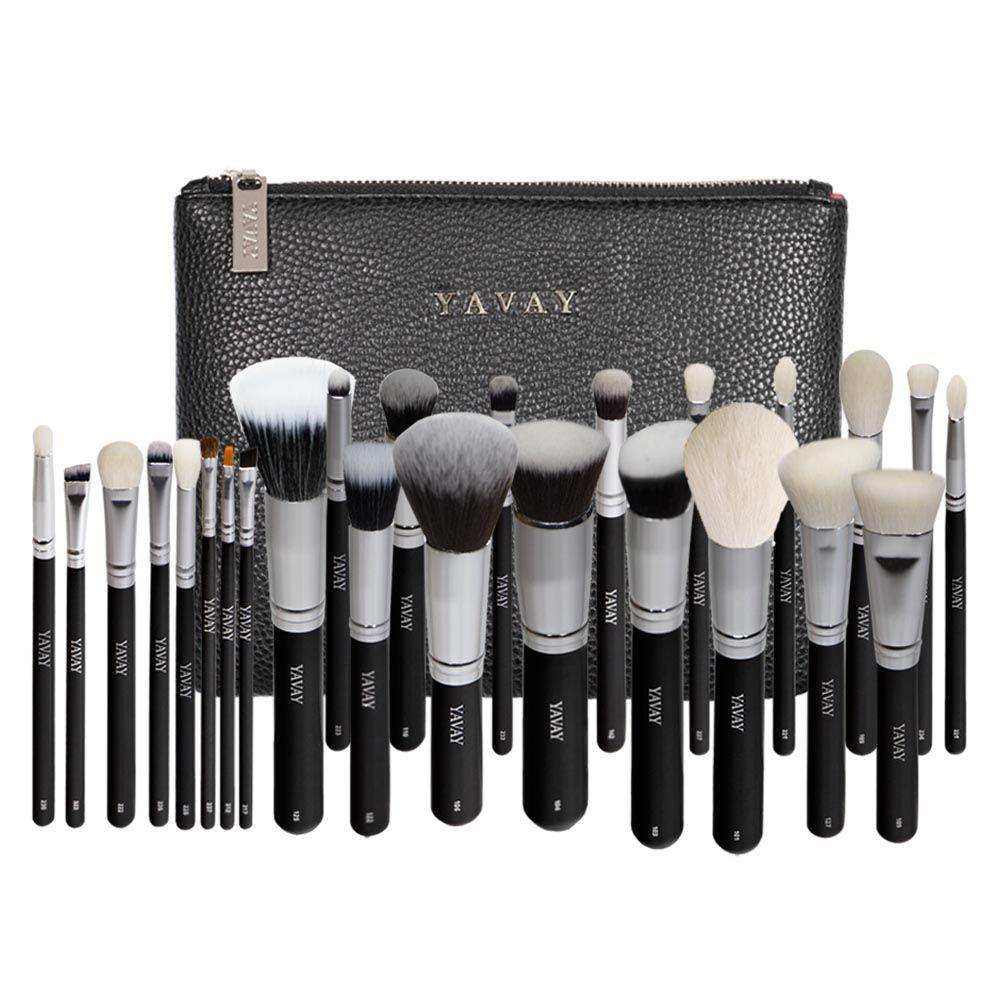 YAVAY 25pcs Original Pro Luxury Artist Makeup Brush Set Goat Hair Synthetic Hair Cosmetics Brushes With PU Leather bag Case