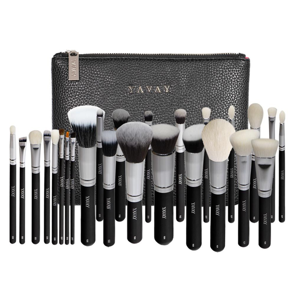YAVAY 25pcs Original Pro Luxury Artist Makeup Brush Set Goat Hair Synthetic Hair Cosmetics Brushes With PU Leather bag Case