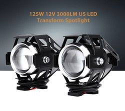Rectangle Motorcycle Headlight LED 2pcs 10W 12V 3000LM U5 Aluminum Alloy High Brightness Transform Spotlight Universal