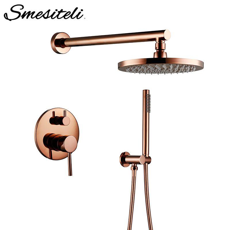 Rose Gold Finish Aus Massivem Messing Dusche Umsteller Ventil Wasserhahn Set Mit 8-12 zoll Runde Dusche Kopf Bad Wand dusche Kit