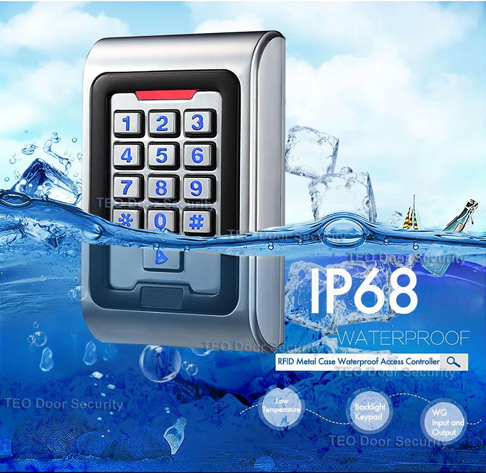Contrôleur d'accès de porte de carte étanche IP68 RFID avec Wiegand 26 tension de travail de sortie DC9V à 28 V touches de rétro-éclairage accès en métal