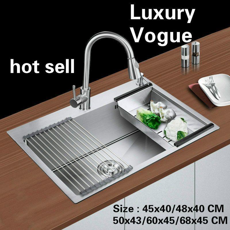 Freies verschiffen Standard mode küche waschbecken food grade edelstahl single slot heißer verkauf 45x40/48x40/50x43/60x45/68x45 CM