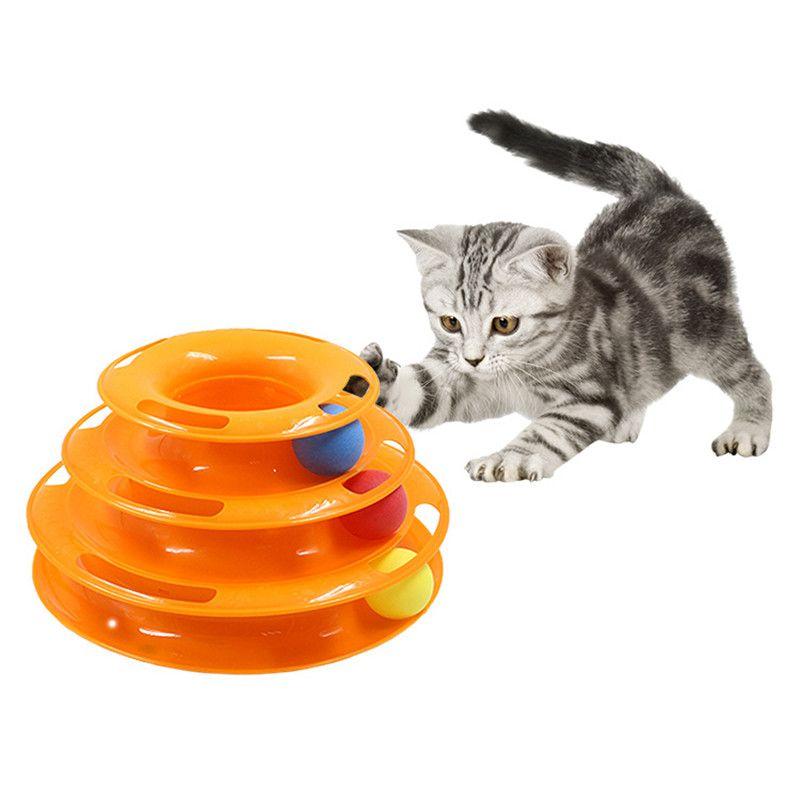 Trois Niveaux pet jouet pour chat Tour Pistes Disque chat Intelligence D'attractions triple payer disque chat jouets balle Formation plaque D'attractions