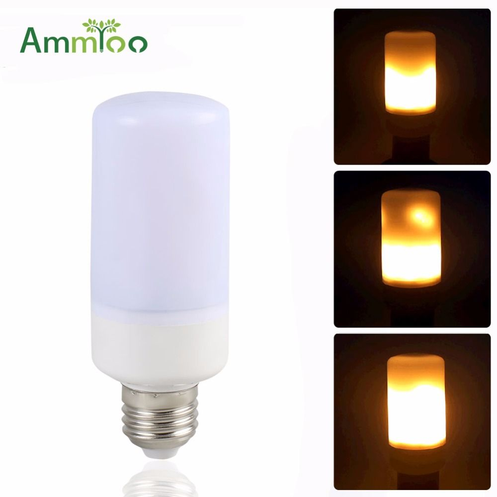 AmmToo SMD 2835 Led Flame Lamp 3 Modes Led Flickering Flame Effect Fire Light Corn Bulb Lighting AC 85-265V For Room Decorations