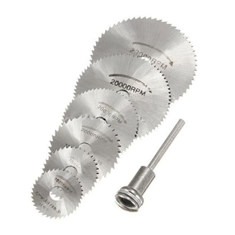 7 PCS HSS Outil Rotatif 22/25/32/35/44/50mm Circulaire Lames de Scie de coupe Disques Mandrin pour Dremel Cut off