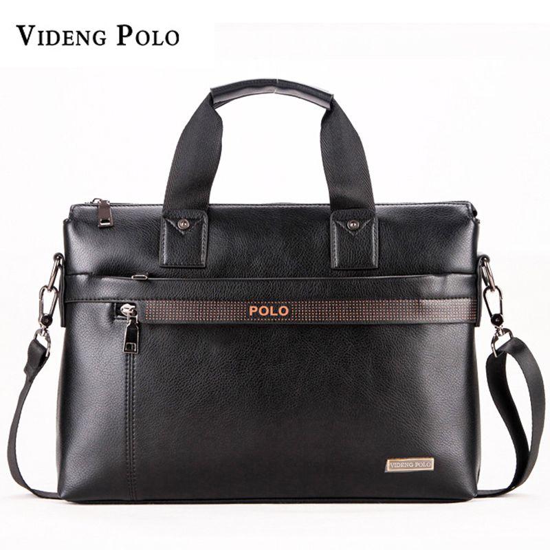VIDENG POLO Men Briefcase Business Leather Handbag For Men Messenger Shoulder Bag <font><b>Office</b></font> A4 Laptop Crossbody Bag Male Travel Bag