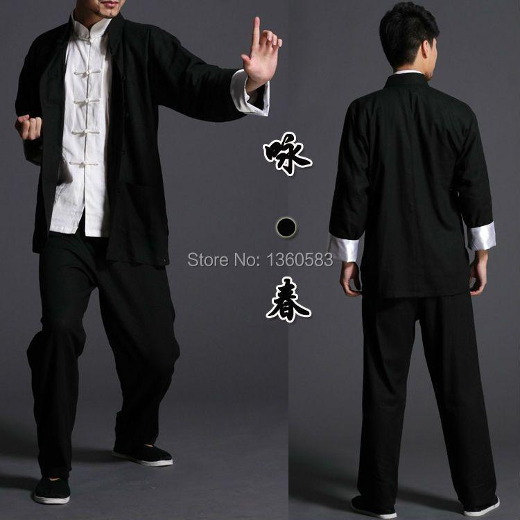 Bruce lee Wing Chun tai chi martial arts clothing set kung fu uniform chinese traditional Tang suits men's clothes Jacket+pants