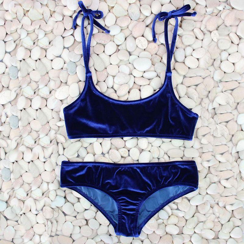 Sexy Bikini brésilien 2017 bleu velours maillots De Bain femmes Maillot De Bain Push up Biquini licou Bikinis ensemble Maillot De Bain