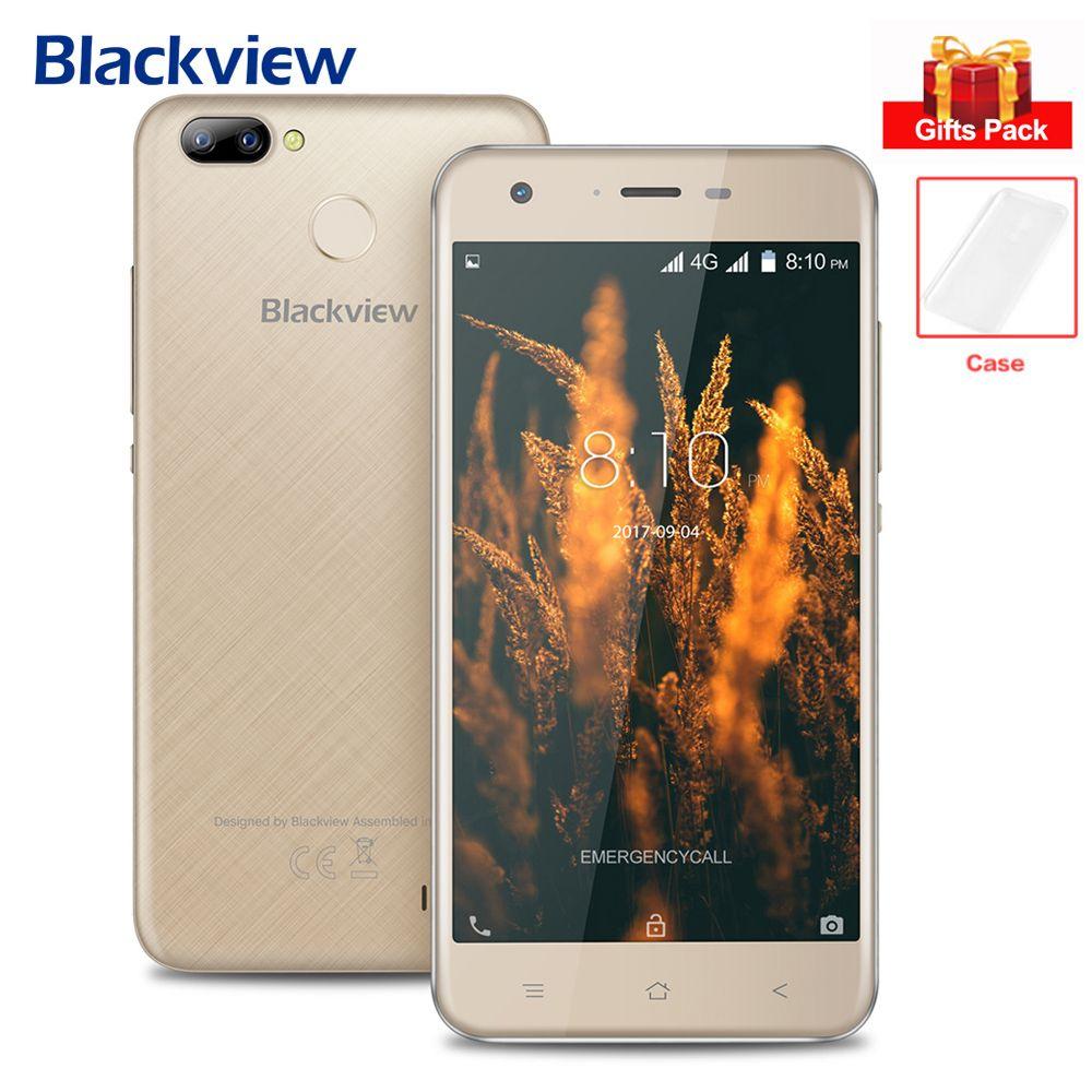 Blackview A7 Pro 4G Mobile Phone 5.0'' Android 7.0 Quad Core 8MP+0.3MP Rear Cameras MT6737 2GB+16GB Fingerprint Smartphone BT4.1